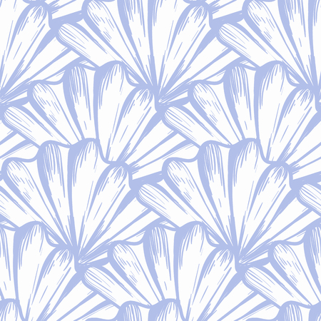 Vector seamless nautical pattern with shells in marine color. Abstract texture in ocean blue. Simple hand drawn design with shells. Vintage retro print for textile fabric wallpaper. Summer background Ilustracja