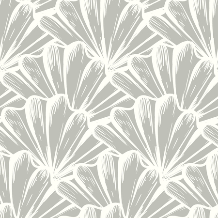 Vector seamless nautical pattern with sea shells in organic color. Abstract texture in nautical style. Simple hand drawn pattern with shells. Vintage retro print for textile, fabric. Summer background