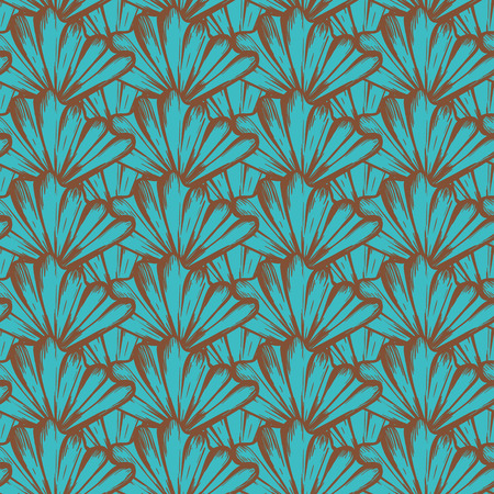 Vector seamless nautical pattern with shells in deep aqua. Abstract texture in ocean blue. Simple hand drawn design with shells. Vintage retro print for textile fabric wallpaper. Summer background Ilustracja