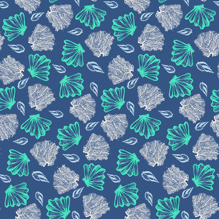 Vector seamless nautical pattern with shells and corals. Abstract hand drawn texture on blue background. Simple hand drawn design with shell. Vintage retro print for textile fabric. Summer background
