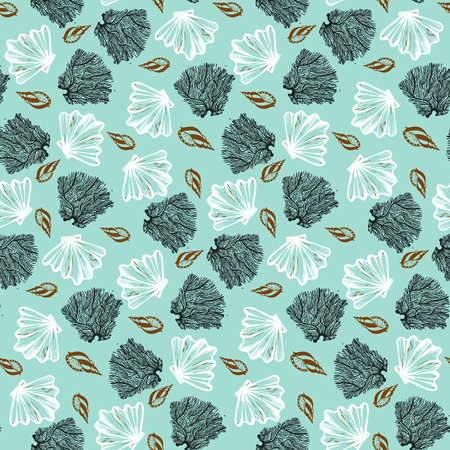 Vector seamless nautical pattern with shells and corals. Abstract hand drawn texture on aqua background. Simple hand drawn design with shell. Vintage retro print for textile fabric. Summer background