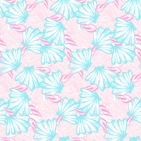 Vector seamless nautical pattern with shells and corals. Abstract hand drawn texture on pink background. Simple hand drawn design with shell. Vintage retro print for textile fabric. Summer background