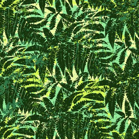 Auffälliger abstrakter Dschungeldruck mit Silhouette von tropischem Laub