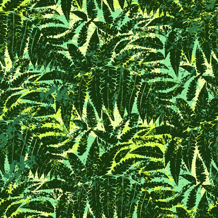 Bold abstract jungle print with silhouette of tropical foliage Иллюстрация