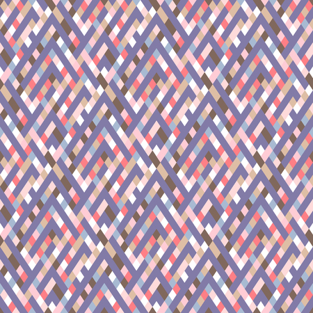 Vector geometric seamless plaid pattern in cute pink color. Small print with squares, checks and geometric shapes. Sporty abstract background with lines and stripes. Vintage retro background in vector Ilustracja