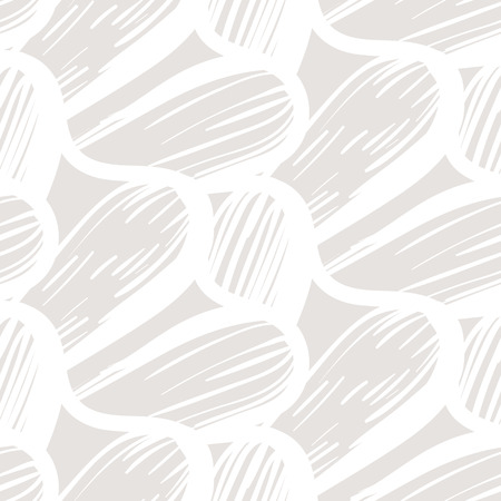 Vector seamless organic pattern with abstract round shapes and nautical motif in sand color. Abstract coastal hand drawn texture in retro style. Simple hand drawn background with wave and waving lines. Ilustracja
