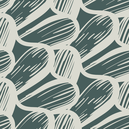 Vector seamless organic pattern with abstract round shapes and nautical motif in sage color. Abstract wavy hand drawn texture in retro style. Simple hand drawn background with wave and waving lines.
