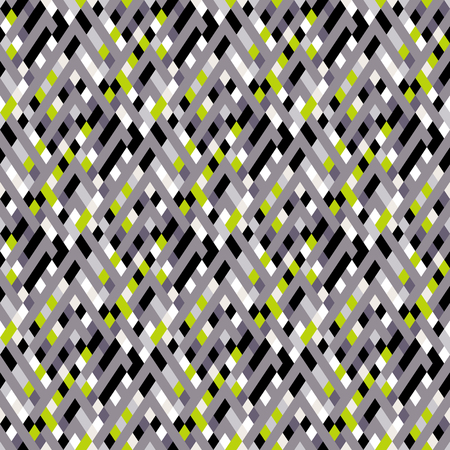Vector geometric seamless plaid pattern in sporty color. Small argyle print with squares, checks and geometric shapes. Sporty abstract background with glitch effect. Vector retro plaid background Ilustracja