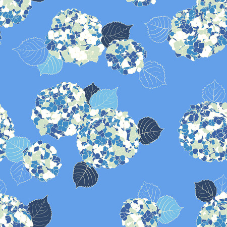 Vector floral pattern with Hortensia flower on blue background. Seamless vector pattern in summer color. Summer hand drawn background in vintage style. Bold print with hand drawn leaves and flowers