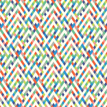 Vector geometric seamless plaid pattern in cute fun colors. Small print with squares, checks and geometric shapes. Sporty abstract background with lines and stripes. Vintage retro background in vector Ilustracja