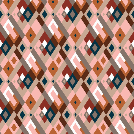 Vector geometric seamless plaid pattern in cute organic color. Small print with squares, checks and geometric shapes. Argyle abstract background with lines and stripes. Vector vintage retro background