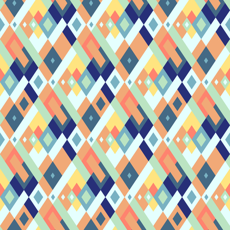 Vector geometric seamless plaid pattern in cute fun colors. Small print with squares, checks and geometric shapes. Argyle abstract background with lines and stripes. Vector vintage retro background Ilustracja