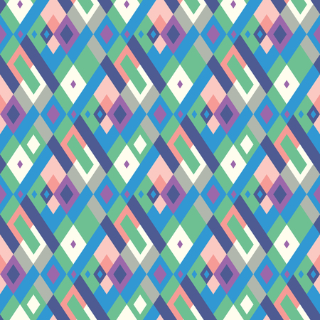 Vector geometric seamless plaid pattern in cute pastel color. Small print with squares, checks and geometric shapes. Argyle abstract background with lines and stripes. Vector vintage retro background Ilustracja