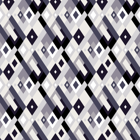 Vector geometric seamless plaid pattern in black and white. Small print with squares, checks and geometric shapes. Argyle abstract background with lines and stripes. Vector vintage retro background Ilustracja