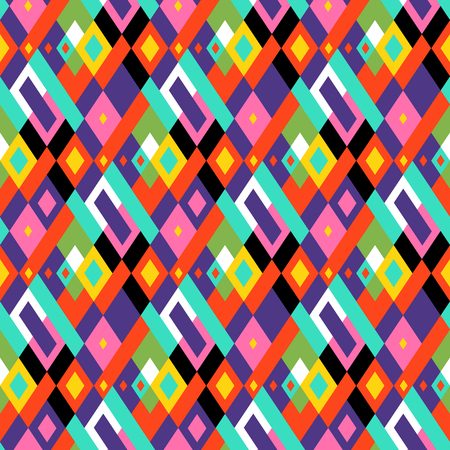 Vector geometric seamless plaid pattern in fun party colors. Small print with squares, checks and geometric shapes. Argyle abstract background with lines and stripes. Fun vector retro party background Ilustracja