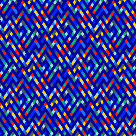 Vector geometric seamless plaid pattern in blue color. Small ditsy print with squares, checks and geometric shapes. Ditsy abstract plaid background with chevrons. Vintage retro background in vector