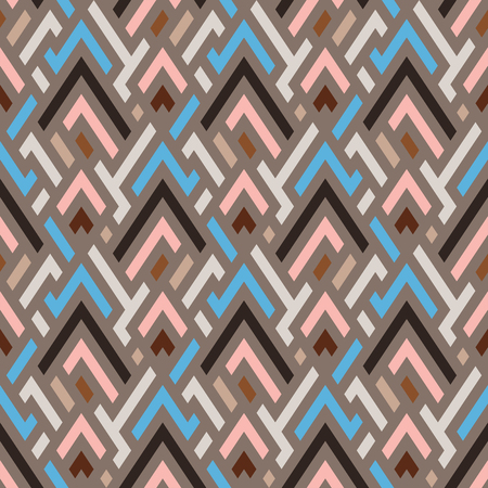 Vector geometric seamless chevron pattern in beige. Small print with angles and geometric shapes. Sporty abstract background with zigzag lines and stripes. Vintage retro chevron background in vector