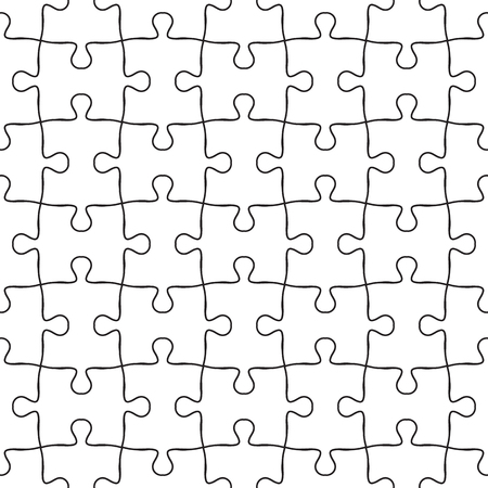 Vector seamless jigsaw puzzle pattern. Seamless background in black and white hand drawn in simple doodle lines. Puzzle texture in repeat