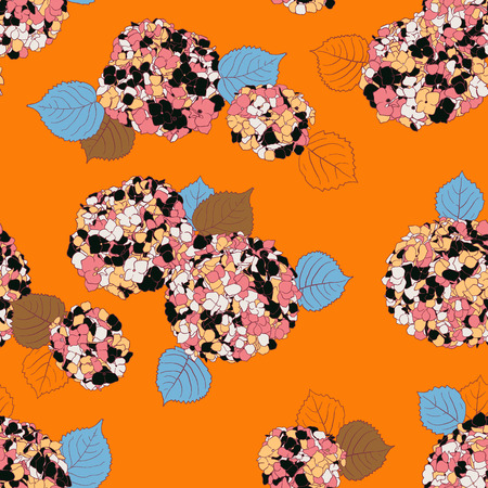 Vector floral pattern with Hortensia flower on orange background. Seamless vector pattern in fall autumn color. Autumn floral background in vintage style. Bold print with hand drawn leaves and flowers