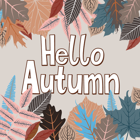 Vector card with words hello autumn and fall leaves. Fall floral background. Autumn banner with foliage. Card with colorful hand drawn leaves and lettering. Hand drawn composition on yellow background