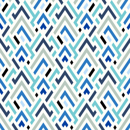 Vector geometric seamless chevron pattern in blue. Small print with angles and geometric shapes. Sporty abstract background with zigzag lines and stripes. Vintage retro chevron background in vector