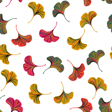 Vector ditsy seamless pattern with ginkgo leaves on white background. Abstract floral autumn background. Vintage print with small leaf and flower for autumn decor and fall fashion. Fall leaves texture Vettoriali