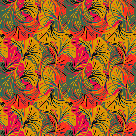 Vector seamless pattern with striped ginkgo leaves on colorful background. Abstract floral autumn background. Vintage print with leafs and flower for autumn decor and fall fashion. Fall leaves texture