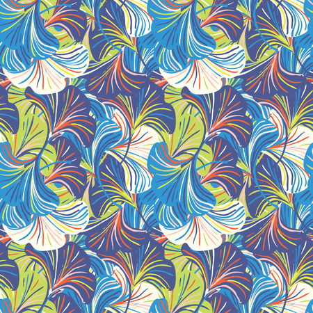 Vector seamless pattern with striped flowers leaves on blue background. Abstract floral autumn background. Vintage print with leaves and flowers for autumn decor and fall fashion. Fall leaves texture Vettoriali