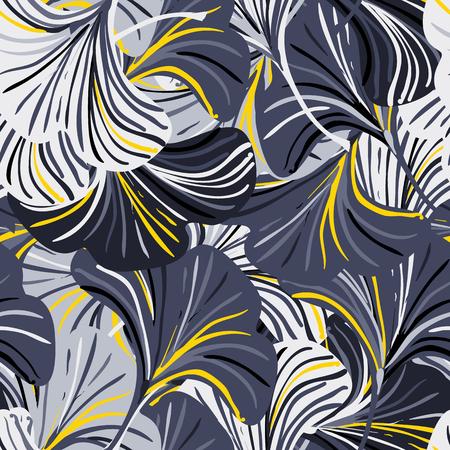 Modèle sans couture de vecteur avec des feuilles de fleurs rayées sur fond noir. Abstrait automne floral. Imprimé vintage avec des feuilles et des fleurs pour un décor d'automne et une mode d'automne. Texture des feuilles d'automne