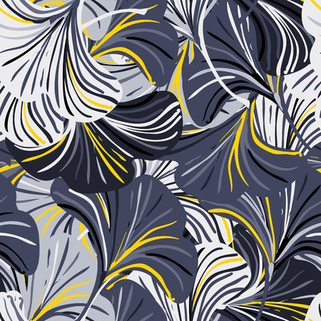 Vector seamless pattern with striped flowers leaves on black background. Abstract floral autumn background. Vintage print with leaves and flowers for autumn decor and fall fashion. Fall leaves texture