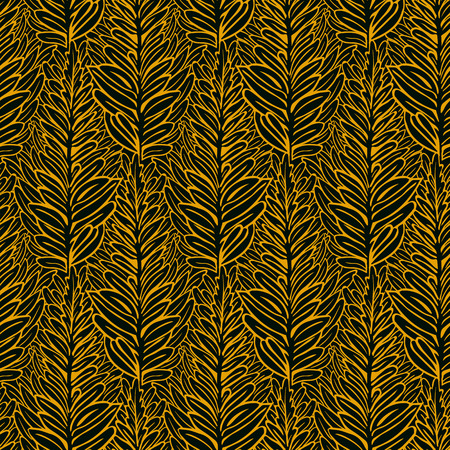 Vector seamless pattern with hand drawn leaves