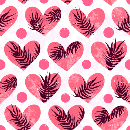 Hearts with tropical leaves for Valentines day. Love background with hearts and palm leaves. Love in jungle decor. Vector seamless romantic modern pattern and tropical texture Valentine day background