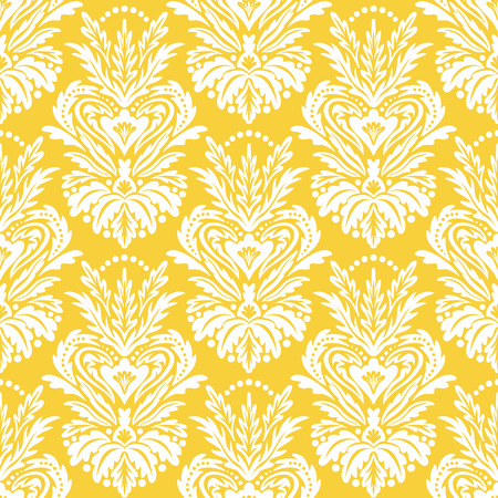 Vector victorian pattern with damask motif for Christmas decor. Vintage chic abstract winter floral background. Damask background in yellow. Vintage Christmas seamless white texture. Art deco pattern