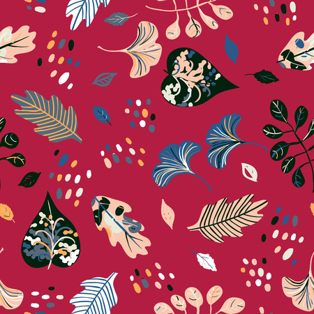 Vector seamless watercolor pattern with fall colorful leaves, flowers and dots on red background. Hand drawn floral autumn background. Cute floral print with leaves for autumn decor and fall fashion Иллюстрация