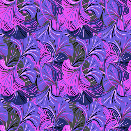 Vector seamless pattern with striped ginkgo leaves on pink purple background. Abstract floral autumn background. Vintage print with abstract flower for autumn and fall fashion. Fall leaves texture Иллюстрация