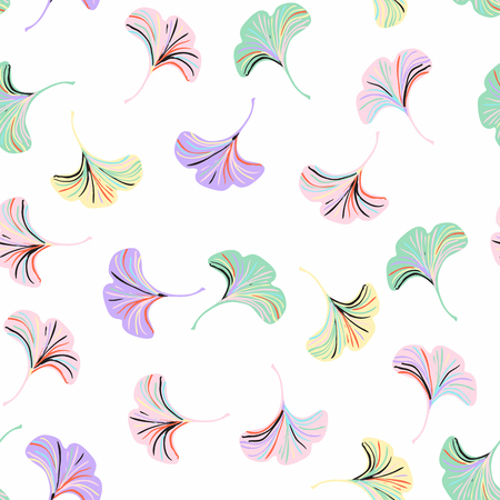 Vector ditsy seamless pattern with ginkgo leaves on white background. Abstract floral autumn background. Vintage print with small leaf and flower for autumn decor and fall fashion. Fall leaves texture Иллюстрация
