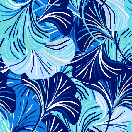 Vector seamless pattern with striped flowers leaves on blue background. Abstract floral spring background. Vintage print with leaves and flowers for spring decor and summer fashion. Leaves texture