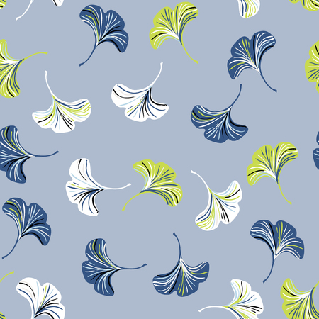 Vector ditsy seamless pattern with ginkgo leaves on grey background. Abstract floral autumn background. Vintage print with small leaf and flower for autumn decor and fall fashion. Fall leaves texture Иллюстрация