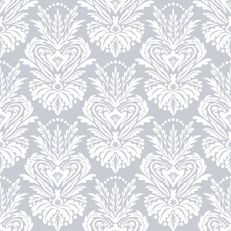 Vector victorian pattern with damask motif for Christmas decor. Vintage chic abstract winter floral background. Damask background in white. Vintage Christmas seamless white texture. Art deco pattern Иллюстрация