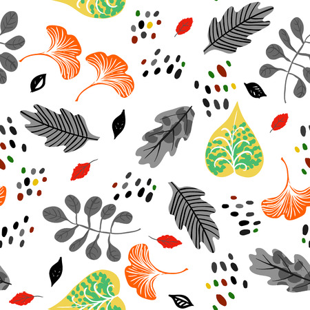 Vector seamless watercolor pattern with fall colorful leaves, flowers and dots on white background. Hand drawn floral autumn background. Cute floral print with leaves for autumn decor and fall fashion