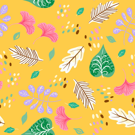 Vector seamless watercolor pattern with fall colorful leaves, flowers and dots on yellow background. Hand drawn floral autumn background Cute floral print with leaves for autumn decor and fall fashion Иллюстрация