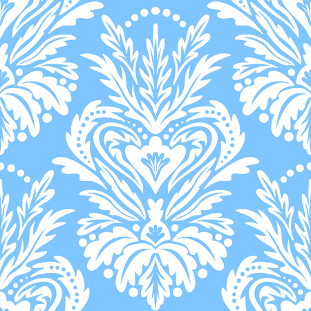 Vector victorian pattern with damask motif for Christmas decor. Vintage chic abstract winter floral background. Damask background in blue. Vintage Christmas seamless white texture. Art deco pattern Иллюстрация
