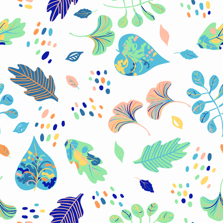 Vector seamless watercolor pattern with spring colorful leaves, flowers and dots on white background. Hand drawn floral summer background. Cute floral print with leaves for spring and summer fashion