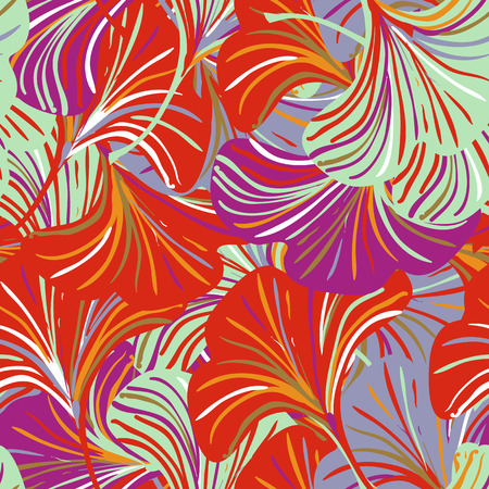 Vector seamless pattern with striped ginkgo leaves on red purple background. Abstract floral autumn background. Vintage print with abstract flower for autumn and fall fashion. Fall leaves texture