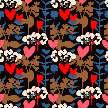 Vector seamless floral pattern with hearts and shapes of plants