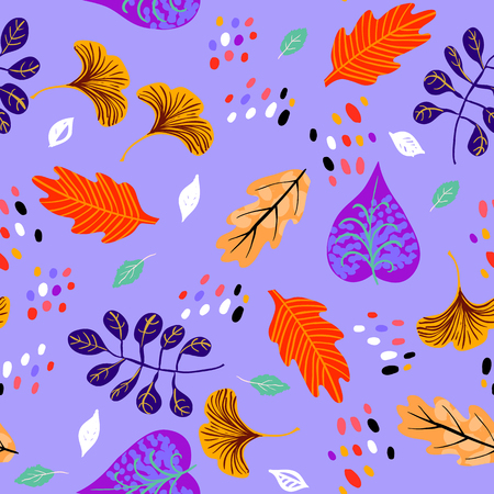Vector seamless watercolor pattern with fall colorful leaves, flower and dots on violet background. Hand drawn floral autumn background. Cute floral print with leaves for autumn decor and fall fashion