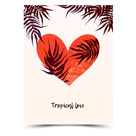 Tropical Valentines day card and wedding invitation. Vector card illustration with love, hand drawn heart. Romantic love background with Palm leaves. Template for Valentine day and wedding invitation