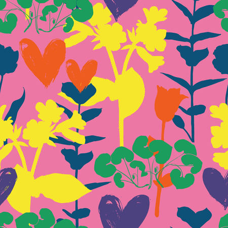 Vector seamless floral pattern with hearts and shapes of plants. Colorful silhouettes on organic background. Luxury valentine day background with heart, love symbol, flowers. Floral silhouette texture Иллюстрация