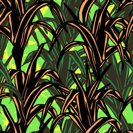 Jungle background with silhouette of paradise tropic and banana leaves Иллюстрация
