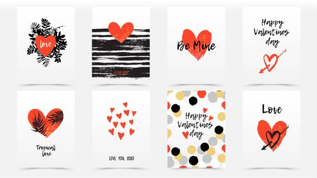 Vector card with hand drawn hearts for Valentine day